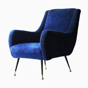 Blauer Italienischer Mid-Century Polster Armlehnstuhl im Stil von Marco Zanuso, 1950er