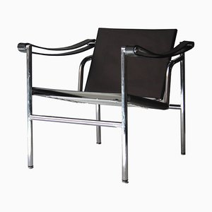 Italian Bauhaus Black Leather & Tubular Steel Armchair in the Style of Le Corbusier, 1980