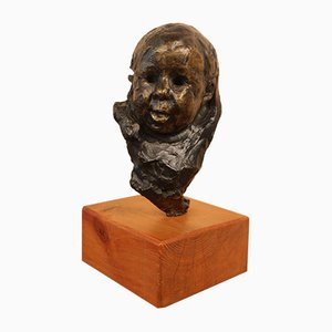 Victor Prouvé, Head of Child Bronze, Old Jean Prouvé Collection