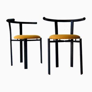 Stuhl aus lackiertem Eisen mit Stoffsitz, 1980er