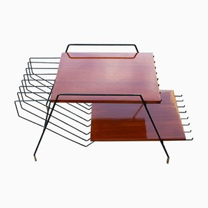 Italian Teak, Metal & Brass Coffee Table by Home Isa for Disegno Graffi Home, 1950s