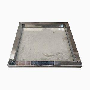 Modernes quadratisches versilbertes Tablett aus Glas von Romeo Rega, 1970er