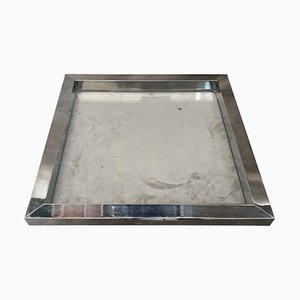 Modernist Square Glass & Silver Plated Tray by Romeo Rega, 1970s