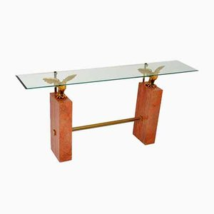 Vintage Marble, Brass and Glass Console Table, 1970s