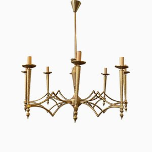 Large Mid-Century Modern Brass Chandelier from FILC Milano, 1950sd