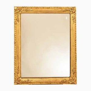 Rectangular Mirror with Roses and Gold Leaf Frame