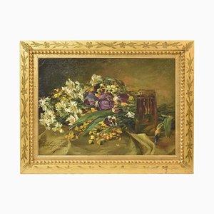 Iris y margaritas, óleo sobre lienzo, principios del siglo XX