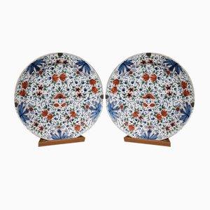 Antique Dutch Multicolored Ceramic Dishes, Set of 2