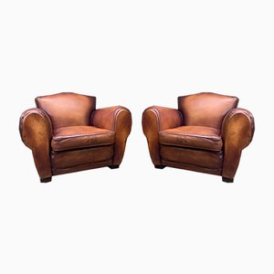 French Leather Model Chapeau du Gendarme Club Chairs, 1930s, Set of 2