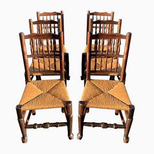 Lancashire Spindleback Dining Chairs, 1800s, Set of 6