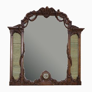 Wood Mirror with Clock, 1960s