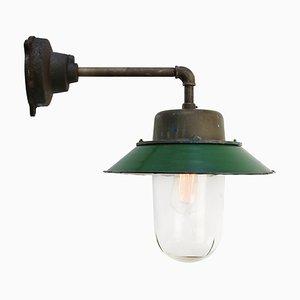 Mid-Century Industrial Green Enamel & Glass Sconce