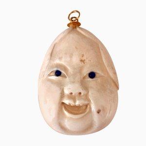 Lámpara colgante vintage con collar de piedra marfil, años 60