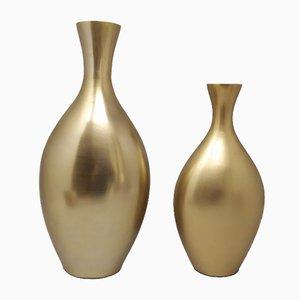 Italian Golden Ceramic Vases, 1970s, Set of 2
