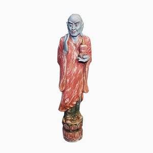 Large Vintage Chinese Wooden Buddhist Monk