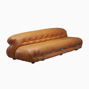 Italian Cognac Leather Soriana Sofa by Tobia & Afra Scarpa for Cassina, 1970s