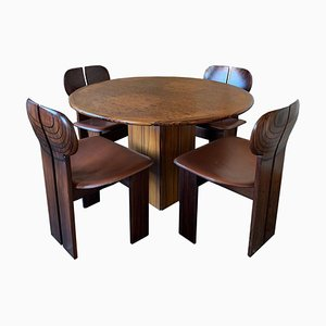 Juego de mesa de comedor y sillas Africa de nogal y cuero de Tobia & Afra Scarpa para Maxalto, 1976. Juego de 5