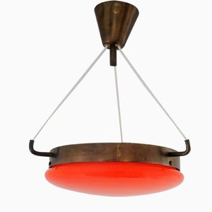 Mid-Century Orange Glass & Brass Ceiling Lamp