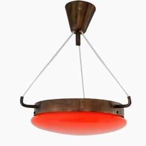 Orange Mid-Century Glas & Messing Deckenlampe
