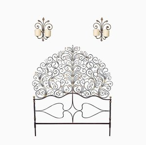 Art Nouveau Gilded Wrought Iron Headboard with Sconces, 1910s, Set of 3