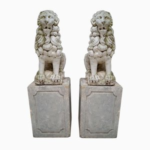 Proud Stone Cast French Sitting Lions, Set of 2