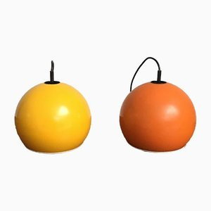 Mid-Century Space Age Ball Pendant Lamps, Set of 2