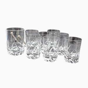 Mid-Century Crystal Blanzey Whiskey Set from Daum, Set of 8