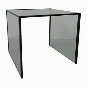 Minimalist Glass Side Table with Steel Frame, 1980s