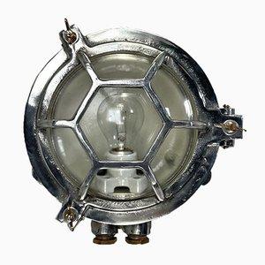 Vintage Japanese Industrial Aluminium and Glass Circular Wall Light