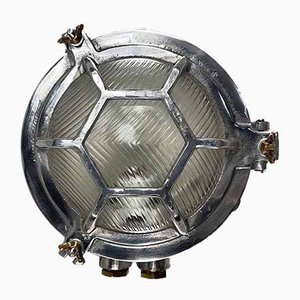 Vintage Japanese Industrial Aluminium and Reed Glass Circular Wall Light