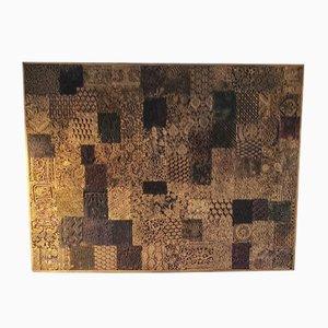 Holztafel mit Batik Stempeln, 1950er