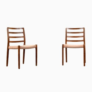 Danish Teak & Wool 85 Dining Chairs by Niels Otto Møller, 1960s, Set of 2