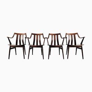 Niederländische Palisander Esszimmerstühle, 1960er, 4er Set