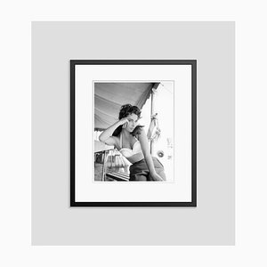 Liz Taylor On Set Archival Pigment Print Framed in Black by Frank Worth