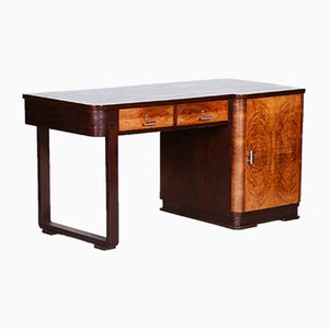 Czech Art Deco Oak & Walnut Veneer Desk, 1930s