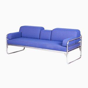 Czech Bauhaus Blue Tubular Chrome Sofa from Hynek Gottwald, 1930s