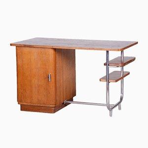 Czech Bauhaus Oak & Chrome Writing Desk from Hynek Gottwald, 1930s