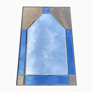 Italienischer Spiegel aus Glas & Messing, 1980er