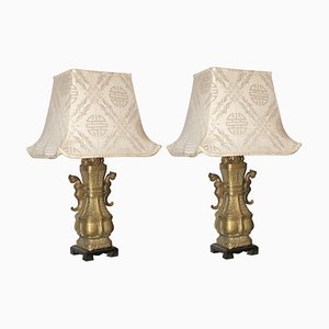 Chinese Bronze Urn Table Lamps with Silk Pagoda Shades, 1960s, Set of 2