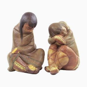 Vintage Eskimo Boy and Girl Figurines by Juan Herta for Lladro, Set of 2