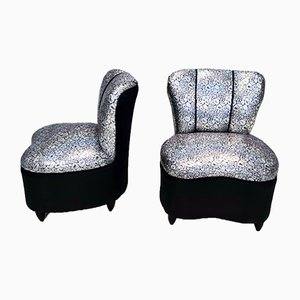 Mid-Century Italian Holographic Fabric Lounge Chairs, 1950s, Set of 2