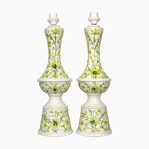 Italian Floral Motif Ceramic Large Table Lamps, 1970s, Set of 2