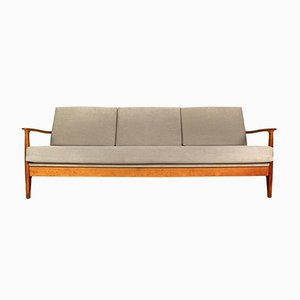 Cherrywood Three-Seater Sofa or Daybed by Eugen Schmidt for Soloform, 1960s