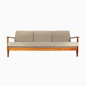 Kirschholz Drei-Sitzer Sofa oder Tagesbett von Eugen Schmidt für Soloform, 1960er