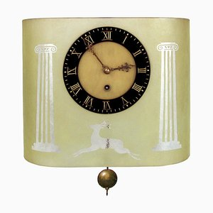 Etched Glass Pendulum Clock by Glösner , 1930s
