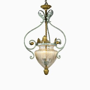 Vintage Wrought Iron and Blown Glass Ceiling Lamp