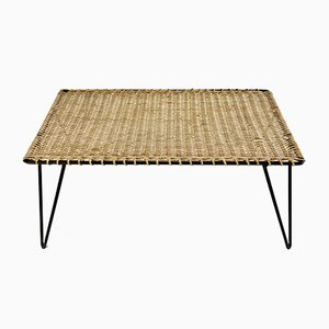 French Rattan & Iron Coffee Table by Raoul Guys, 1950s