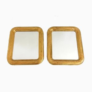 Mirrors with Giltwood Frames & Sgraffito Decoration, 1940s, Set of 2