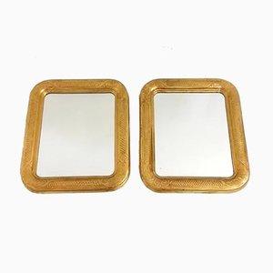 Spiegel mit Rahmen aus vergoldetem Holz & Sgraffito Dekoration, 1940er, 2er Set