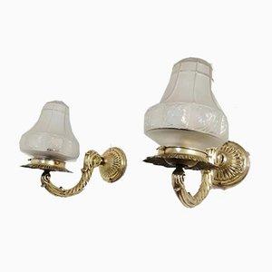Art Deco Brass Sconces, 1930s, Set of 2